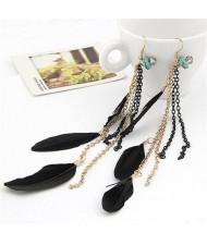Korean Fashion Dangling Elegant Feather Earrings