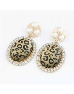 Exaggerated Leopard Prints Oval-shaped Earrings