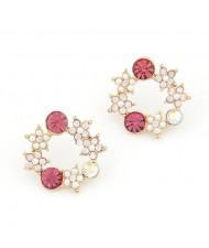 Korean Fashion Rhinestone Inlaid Wreath Ear Studs - Pink