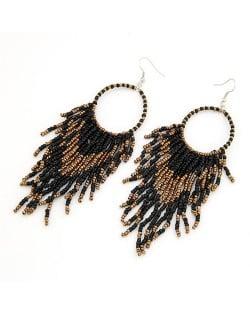 Bohemian Beads String Fashion Earrings - Black