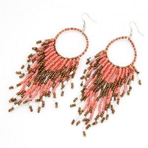 Bohemian Beads String Fashion Earrings - Pink