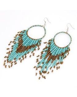 Bohemian Beads String Fashion Earrings - Light Blue