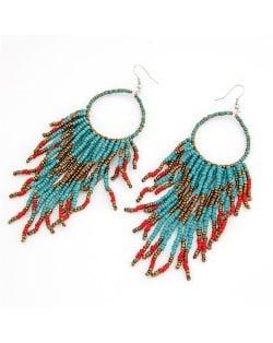 Bohemian Beads String Fashion Earrings - Dark Blue
