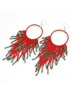 Bohemian Beads String Fashion Earrings - Red