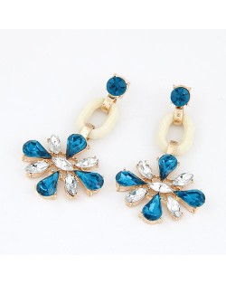 Sweet Blue and Transparent Gems Inlaid Dangling Earrings