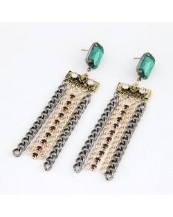 Green Gem Inlaid Metalic Tassels Dangling Earrings