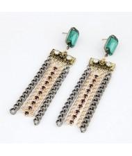 Green Gem Inlaid Metallic Tassels Dangling Earrings