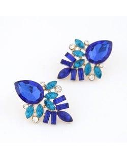Elegant Blue Gems Pieced Floral Ear Studs