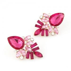 Elegant Pink Gems Pieced Floral Ear Studs