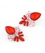 Elegant Red Gems Pieced Floral Ear Studs