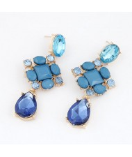 Fashionable Assorted Gems Inlaid Water-drop Shape Earrings