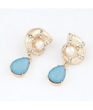 Golden Horn with Gem Water-drop Design Earrings