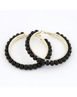 Star Fashion Black Pearl Hoop Earrings