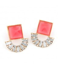 Square and Arch Combo Fashion Earrings - Red