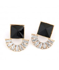 Square and Arch Combo Fashion Earrings - Black