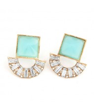 Square and Arch Combo Fashion Earrings - Green