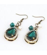 Vintage Luxurious Baroque Style Green Gems Inlaid Water-drop Earrings