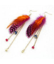 Korean Fashion Feather Tassles Design Earrings - Orange