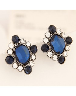 Baroque Style Rhinestone and Glass Rhombus Ear Studs - Ink Blue