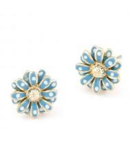 Korean Style Sweet Golden Rim Daisy Ear Studs - Blue