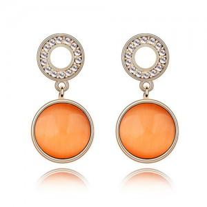 Pure Elegant Opal Inlaid Round Dangling Earrings - Orange