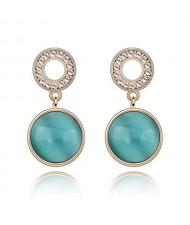 Pure Elegant Opal Inlaid Round Dangling Earrings - Blue