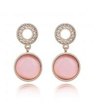 Pure Elegant Opal Inlaid Round Dangling Earrings - Pink