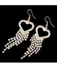 Rhinestones Inlaid Peach Heart Tassels Fashion Earrings - Golden