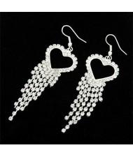 Rhinestones Inlaid Peach Heart Tassels Fashion Earrings - Silver