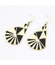 Fan Shaped Oil-spot Glazed Fashion Earrings - Black