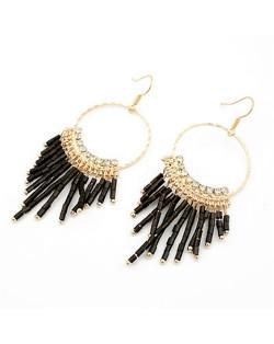 Korean Fashion Dangling Beads Hoop Earrings - Black