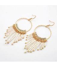 Korean Fashion Dangling Beads Hoop Earrings - White
