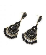 Elegant Bohemian Pearls Inlaid Water-drop Design Earrings - Black
