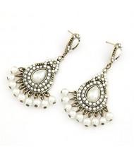 Elegant Bohemian Pearls Inlaid Water-drop Design Earrings - White