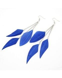 Korean Style Graceful Blue Feather Earrings