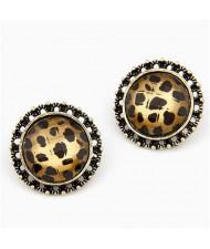 Korean Style Classic Leopard Prints Round Ear Studs