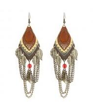 Ethnic Style Leaves Fashion Tassels Dangling Earrings