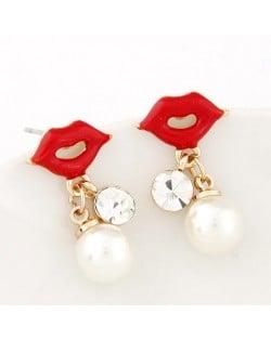 Fashionable Red Lips Dangling Pearl Costume Earrings