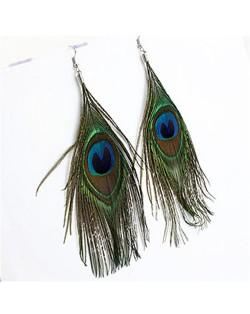 Ethnic Bohemian Style Peacock Feather Earrings