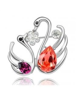 Swan Lake Love Austrian Crystal Brooch - Red
