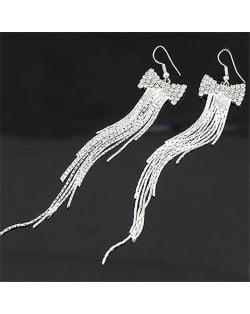 Korean Bowknot Fashion Long Tassels Earrings - Silver