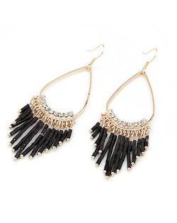 Black Beads Oval-shaped Hoop Earrings