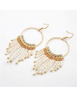 White Beads Oval-shaped Hoop Earrings