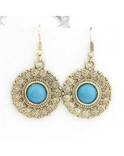 Vintage Blue Gem Embedded Sun Flower Dangling Earrings