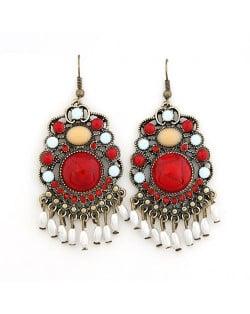 Vintage Bohemain Fashion Elegant Red Gem Inlaid Dangling Earrings