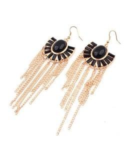 Black Gems Inlaid Floral Style Tassels Fashion Earrings