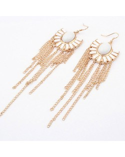 White Gems Inlaid Floral Style Tassels Fashion Earrings