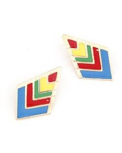 Multiple Colors Oil-spot Glazed Rhombus Shape Fashion Earrings