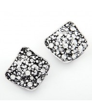 Rhinestone Inlaid Vintage Hollow Vine Irregular Square Design Earrings