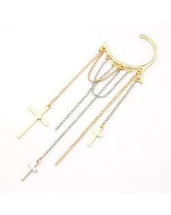 Cross Tassels Fashion Unilateral Earring
